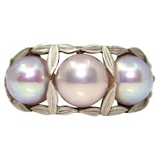 Art Nouveau GIA Natural Pearl Ring in Platinum