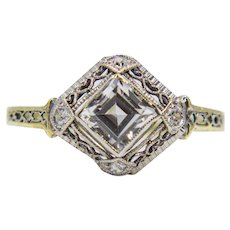 Art Deco White Sapphire & Diamond Ring in Platinum and Yellow Gold
