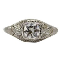 Scintillating Art Deco Diamond Filigree Engagement Ring in Platinum