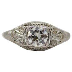 Scintillating Art Deco Diamond Filigree Engagement Ring in Platinum