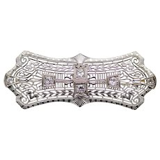 Art Deco Diamond Filigree Brooch in 18K White Gold