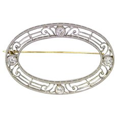 Sale! Edwardian Diamond Filigree Brooch in Platinum