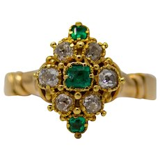 English Victorian Diamond & Emerald Ring in 18K Gold