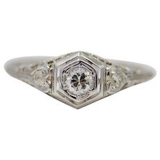 Sale! Floral Art Deco Diamond Filigree Engagement Ring