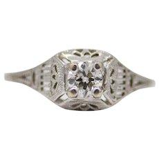 Sale! 1920's Art Deco Diamond Filigree Solitaire Ring in 18K White Gold