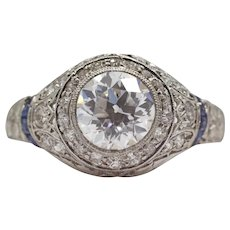 Art Deco 1.30ct GIA E VVS2 Diamond Engagement Ring