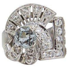 Retro Aquamarine & Diamond Statement Ring in Platinum