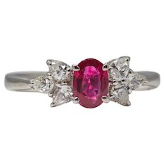 Fine Ruby & Pear Shaped Diamond Ring in Platinum