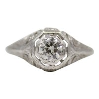 Art Deco Diamond Solitaire Filigree Engagement Ring in 18K White Gold