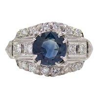 Sale! Vintage 2.31ct Ceylon Sapphire & Diamond Ring in Platinum