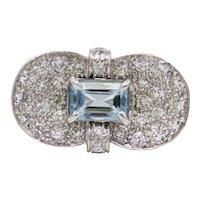 Striking Retro Aquamarine & Diamond Ring in Platinum