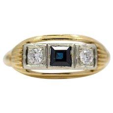 Sale! Vintage 1940's Diamond & Sapphire Three Stone Ring