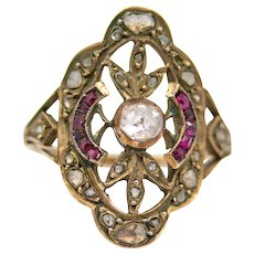 Victorian Rose Cut Diamond & Ruby Ring in Yellow Gold