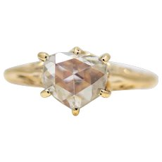 Victorian Shield Shaped 1.17ct Rose Cut Diamond Engagement Ring