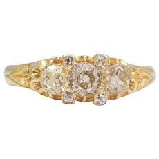 Sale! English Victorian 18K Gold Three Stone Diamond Engagement Ring
