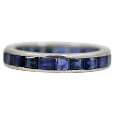 Sale! Vivid Blue 2.86ct Sapphire Eternity Wedding Band in Platinum