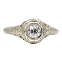 Art Deco Filigree Diamond Solitaire Engagement Ring in 18K White Gold