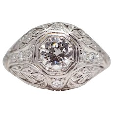 Sale! Floral Art Deco Platinum Diamond Engagement Ring