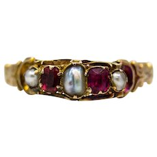 Victorian English Ruby & Natural Pearl Ring in Yellow Gold