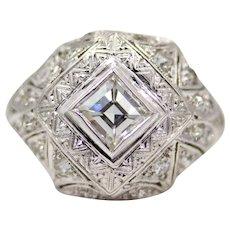 Sale! Art Deco Step Cut Diamond Engagement Ring in Platinum