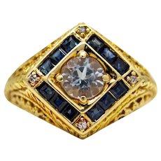 Art Nouveau Hand Engraved Aquamarine, Diamond, & Sapphire Ring
