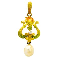 Sale! Cheerful Art Nouveau Floral Enamel & Natural Pearl Pendant in Yellow Gold