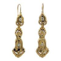 Sale! Majestic French Victorian Enamel Floral Earrings in 18K Yellow Gold