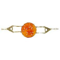 Art Nouveau Carved Carnelian Flower Bracelet in 14K Yellow Gold