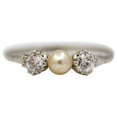 Enchanting Edwardian Three Stone Natural Pearl & Diamond Ring in Platinum