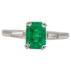 Sale! Vibrant Forest Green Emerald & Diamond Ring in Platinum