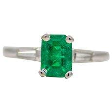 Sale! Vibrant Forest Green Emerald & Diamond Ring in Platinum
