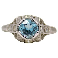 Fantastic Art Deco Aquamarine Filigree Solitaire Ring