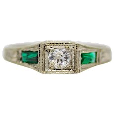 Sale! Art Deco Diamond & Emerald Baby Ring in 14K White Gold
