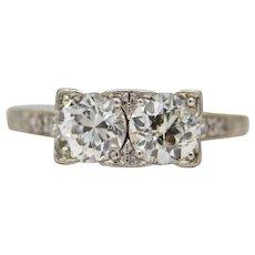 Sale! Art Deco Double Diamond Toi et Moi Engagement Ring in Platinum