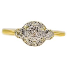 Edwardian Diamond Cluster Ring in 18K Gold and Platinum