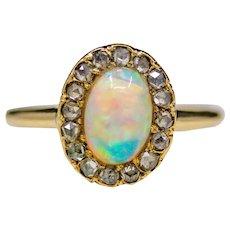 Victorian Lightning Ridge Opal and Rose Cut Diamond Ring in Yellow Gold