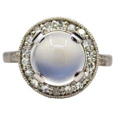Sale! Edwardian Pool of Light Moonstone & Diamond Ring in Platinum