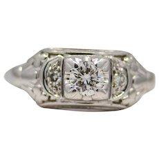 Vintage American Jabel Diamond Engagement Ring in 18K White Gold