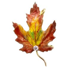 Vividly Enameled Art Nouveau Maple Leaf Diamond Pendant