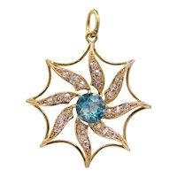 Sale! Victorian Mine Cut Diamond & Blue Zircon Sun Pendant in 14k Yellow Gold