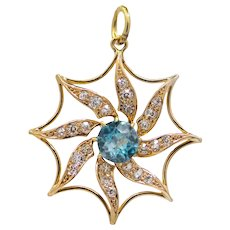 Victorian Mine Cut Diamond & Blue Zircon Sun Pendant in 14k Yellow Gold