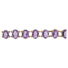 Sale! Lush English Victorian Amethyst Bracelet in 15 Karat Gold