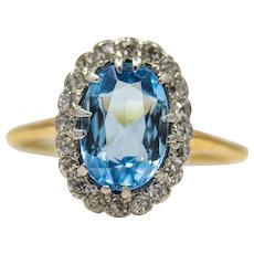 Sale! Edwardian Aquamarine & Diamond Ring in Platinum, 18K Gold