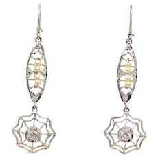 Sale! Art Deco Snowflake Diamond Filigree Earrings in Platinum