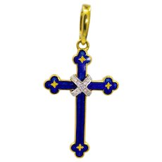Sale! Enameled Faberge Diamond Cross Pendant in 18K Gold