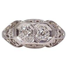 Sale! Delightful Art Deco Toi Et Moi Diamond Ring in Platinum