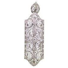 Glimmering Art Deco Diamond Filigree Pendant in 14K White Gold