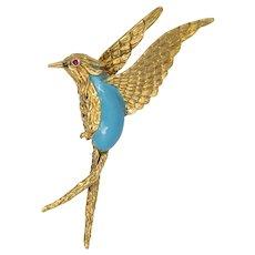 Vintage Enamel & Ruby Swallow Bird Brooch in 18K Yellow Gold