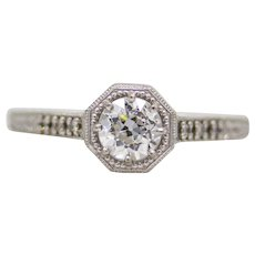 Romantic Art Deco Heart Filigree Diamond Engagement Ring in Platinum