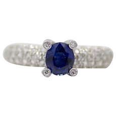 Chic Contemporary Sapphire & Pave Set Diamond Ring in 18K White Gold